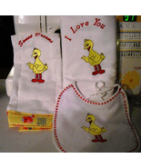 Big Bird Layette Set --Bib, Burp Rag, and Receiving Blanket PERSONALIZED... - $29.99