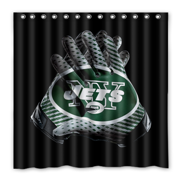 NY Jets 01 Shower Curtain Waterproof Polyester Fabric For Bathroom