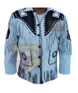 1050 WESTERN COWBOY STYLE BEADED TASSELED FRINGE LIGHT BLUE SUEDE LEATHE... - $198.99