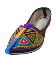 Women Shoes Indian Handmade Leather Jutti Pointy Flats Mojari US 9  - $29.99