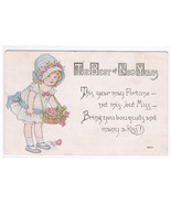 Miss Fortune Little Girl Flowers New Year 1916 postcard - $4.46