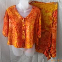 Equinoxe large orange short-sleeved blouse and knee-length skirt - $15.00