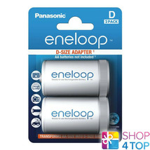 2 Panasonic Eneloop Battery Adapter Aa R6 To D R20 Size Converter Spacer Case - $9.20