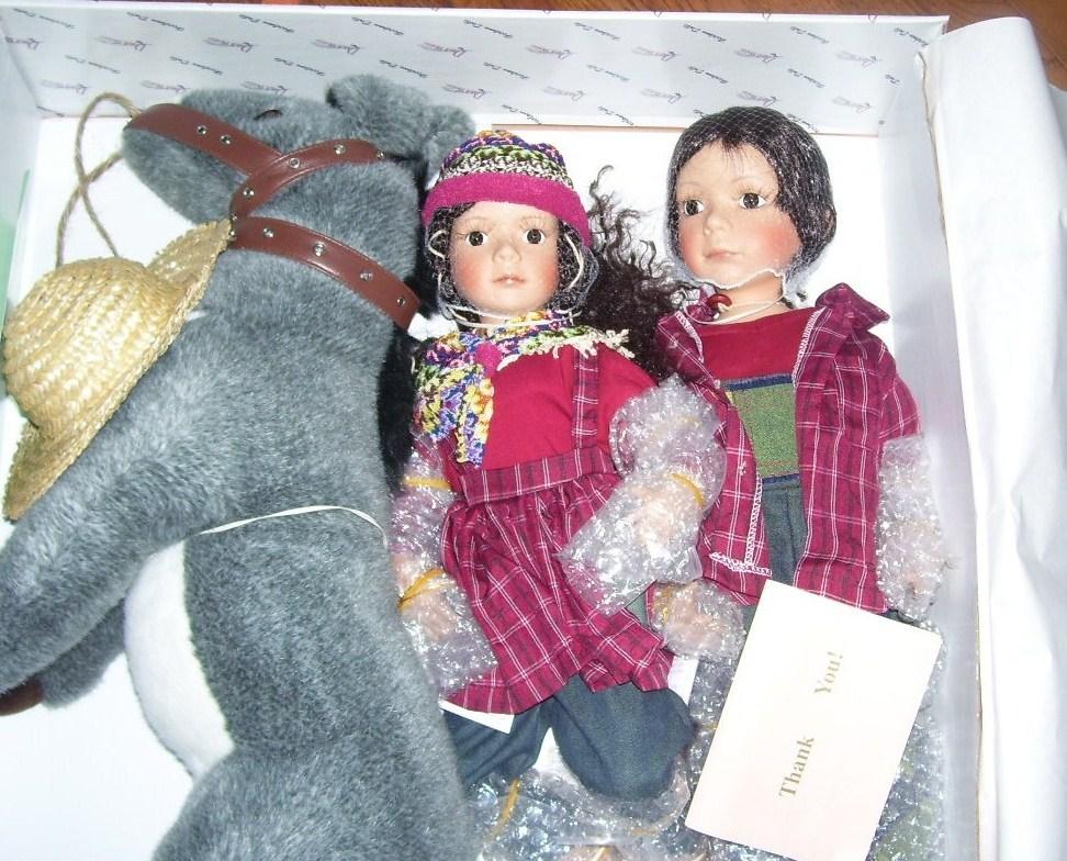 Duck House REUBEN & RUTHIE Porcelain Dolls w/DONKEY NIB