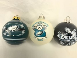 Lot of 3 NFL Philadelphia Eagles Christmas Ornaments Balls - $12.75
