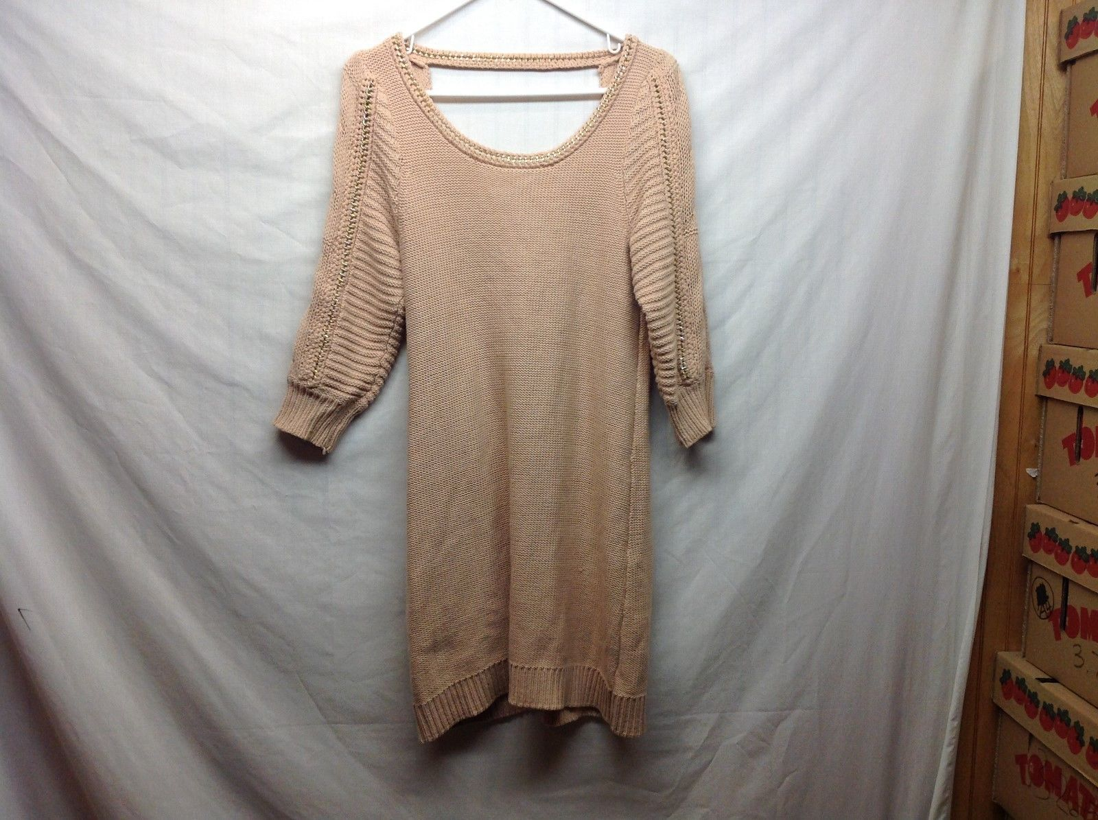 Lauren Conrad Long Peach Colored Low Scoop Back Knit Sweater Sz M