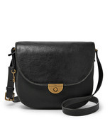 New Fossil Women's Emi Large Leather Saddle Bag Black - £95.03 GBP