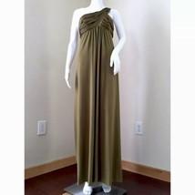 David's Bridal Dress Size 8 One Shoulder Long Green Cascade Bridesmaid F... - $22.99