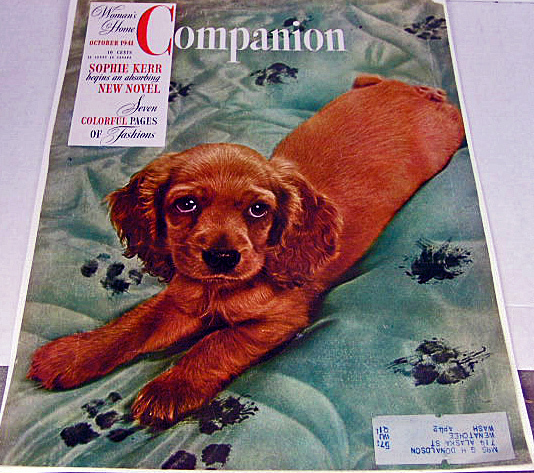 1941 Womans Home Companion Cover w Puppy and Bon Ami Ad Reve