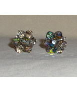 Aurora Borealis Faceted Crystal Glass Beaded Clip On Earrings - $11.95