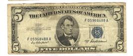 1953 A $5 DOLLAR SILVER CERTIFICATE BLUE SEAL NOTE 488A - $12.87