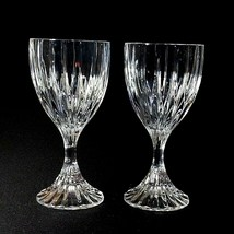 2 (Two) Mikasa Park Lane Cut Lead Crystal Wine Goblets Glasses Discontinued - $31.34
