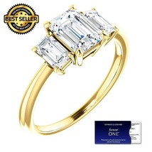 2.00 Carat EmeraldCut Moissanite ForeverOne Diamond Ring 14KGold Charles... - $1,795.00