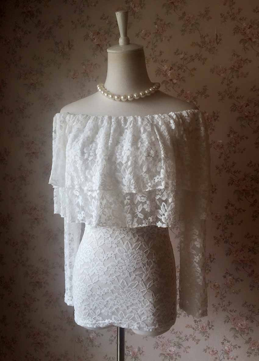 OFF SHOULDER Ivory White Lace Top Long Sleeve White Lace Bardot Top Plus Size