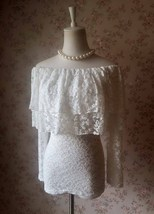OFF SHOULDER Ivory White Lace Top Long Sleeve White Lace Bardot Top Plus Size image 1