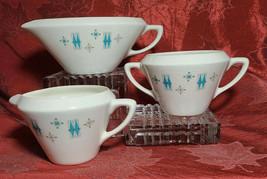 Vtg Sugar Bowl, Creamer, Gravy Boat Turquoise Diamond Atomic Starburst Snowflake