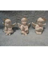 CERAMIC WHITE ANGEL TREE ORNAMENT SET OF THREE WITH HANGING CORD - $17.95