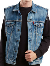 Levi's Men's Red Tab Button Up Denim Jeans Jayden Trucker Vest Blue 728870013