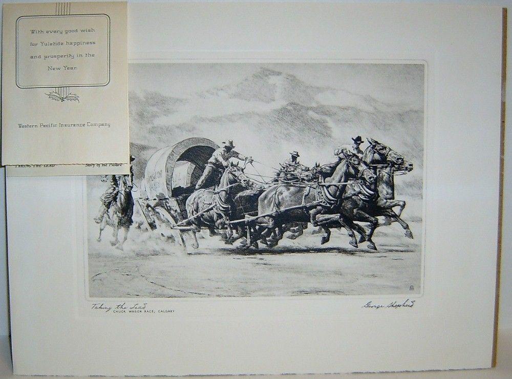TAKING THE LEAD by George Shepherd - Vintage Western Print - $15.99