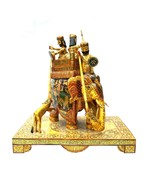 Elephant Hunting Statue Handmade Camel Bone Hand Painted Sculpture Figurine - $1,026.00