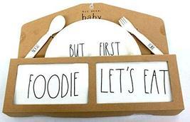 Rae Dunn Baby 5 Piece Gift Set (Melamine Plate, Fork, Spoon, Bandana Bib... - $39.59