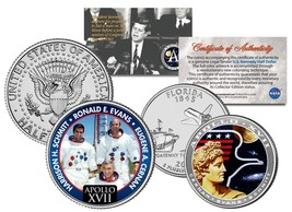 APOLLO 17 SPACE MISSION 2-Coin Set US Quarter & JFK Half Dollar NASA AST... - $12.82