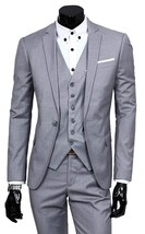 Mens Three Piece Blue Lapel Collar Grey Tweed Slimfit Black Suit image 2