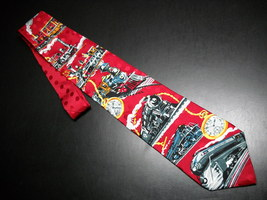 Ralph Marlin RM Style Neck Tie Time Of The Train 1994 Bright Reds Progression image 2