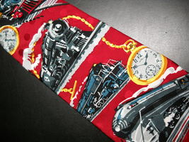 Ralph Marlin RM Style Neck Tie Time Of The Train 1994 Bright Reds Progre... - $12.99