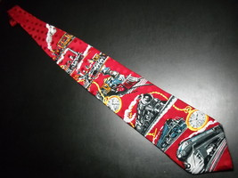 Ralph Marlin RM Style Neck Tie Time Of The Train 1994 Bright Reds Progression image 3