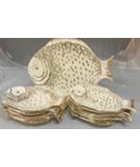 Mid Century Off White & Gold Italian Made Ceramic Fish Plates - Set of 13 - $399.00