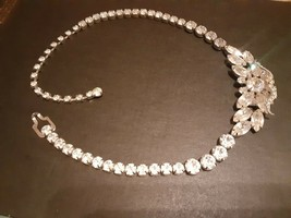 Vintage Weiss Signed Leaf Clear Rhinestone Cluster Silver Tone Necklace - $55.00