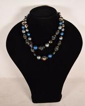 Vintage Vendome Blue Aurora Borealis Crystal Faux Black Pearl Clasp Necklace - $123.75