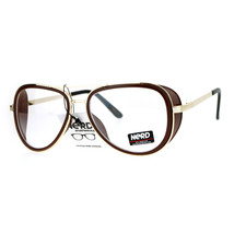 SA106 Unique Plastic Side Visor Double Frame Aviator Clear Lens Eye Glasses - $12.95