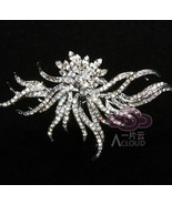 Bridal Rhinestone Crystal Silver Tone Hair Craft Brooch Pin Wedding Jewelry - $10.39
