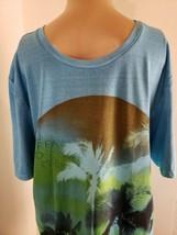 Buffalo David Britton Men's T Shirt Size Medium Blue Green Tropical - $16.14