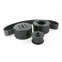 Chevy Small Block SBC Short Water Pump Gilmer Style Pulley Kit (BLACK)