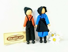 """Vintage Wooden Amish Dolls Heartland Boy & Girl Lot of Two 6.75"""" New! - $15.63"""