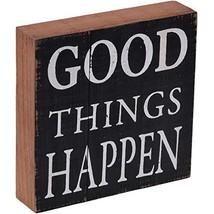 """NIKKY HOME 8"""" Inspirational Wooden Box Sign with Quote, Good Things Happ... - $10.42"""