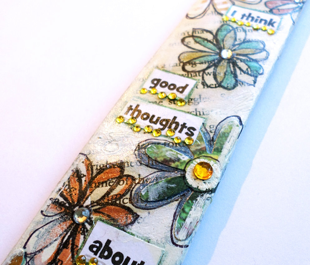 I think good thoughts flowers bookmark