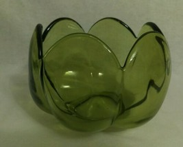 Vintage Heisey Imperial Green 6 Panel Petal Bowl Scalloped cupped Lily - $62.37