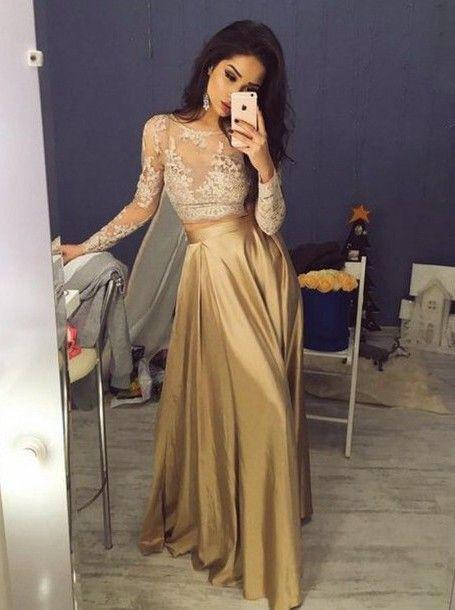 gold prom dress,long prom dress,two pieces prom dress,lace sleeves prom dresses