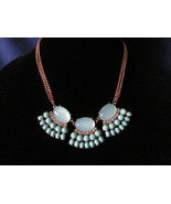 Vintage Aqua Large Cabochon Statement Type Necklace - Aqua Inserts, Rhinestones - £8.06 GBP