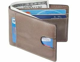 Men's Slim Wallet with Front Pocket, RFID Blocking, Light Grey image 3
