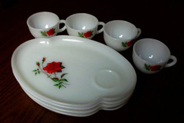 Hazel Atlas Milk Glass Rose Sandwich Set 4 Cups 4 Plates - $19.90
