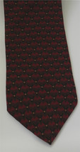 KENNETH COLE Burgundy Red Black Geometric Print Men's Neck Tie Silk 3.75 in. - $19.59