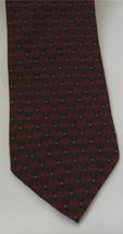 KENNETH COLE Burgundy Red Black Geometric Print Men's Neck Tie Silk 3.75... - $19.59