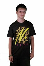 Neff Run Wild Graphic Leopard Print Black Yellow Premium Fit T-Shirt Cotton Tee