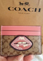 "Coach Pink/Brown Signature ""LIPS"" Card Case Wallet NWT and Dustbag F31893 - $39.99"