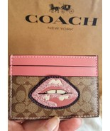 """Coach Pink/Brown Signature """"LIPS"""" Card Case Wallet NWT and Dustbag F31893 - $39.99"""